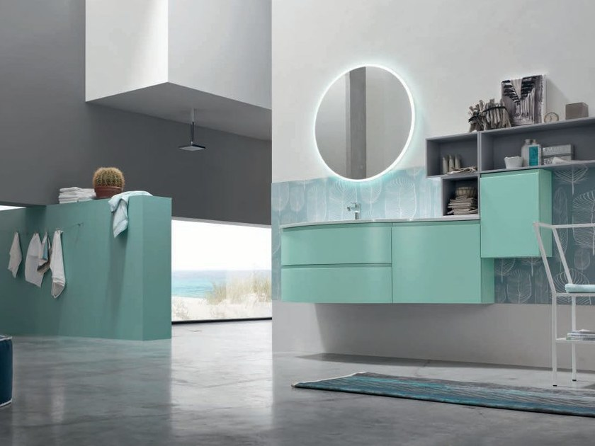 Lacquered single vanity unit with mirror SOUL - COMPOSITION 11 - Arcom