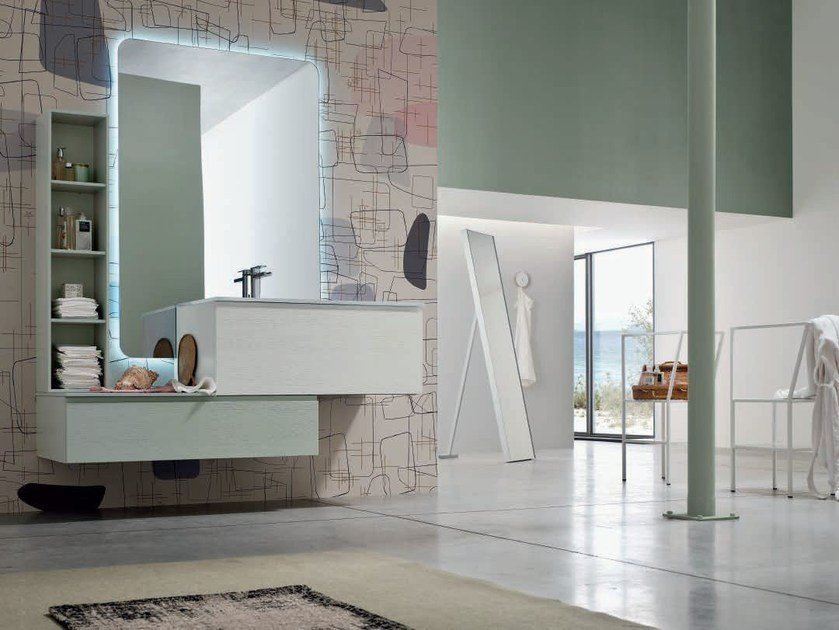 Lacquered single vanity unit with mirror SOUL - COMPOSITION 13 - Arcom