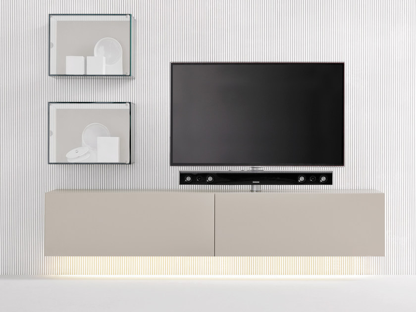 Modular TV cabinet with flap doors SOUND SYSTEM | Wall-mounted TV cabinet - Silenia