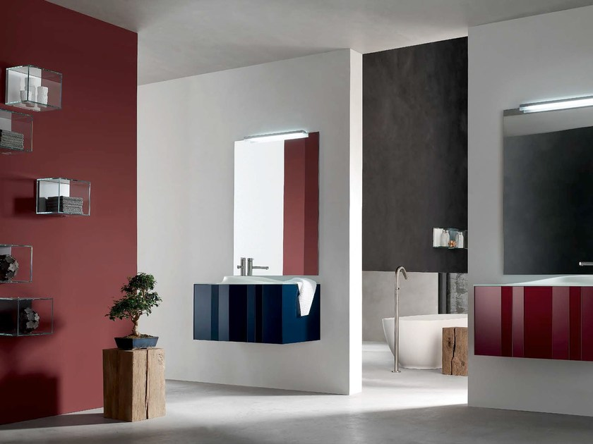 Lacquered single vanity unit SPRING - COMPOSITION 4 - Arcom