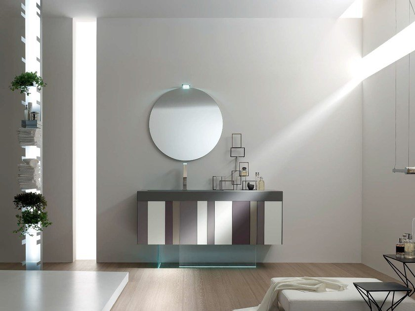 Lacquered single vanity unit SPRING - COMPOSITION 8 - Arcom