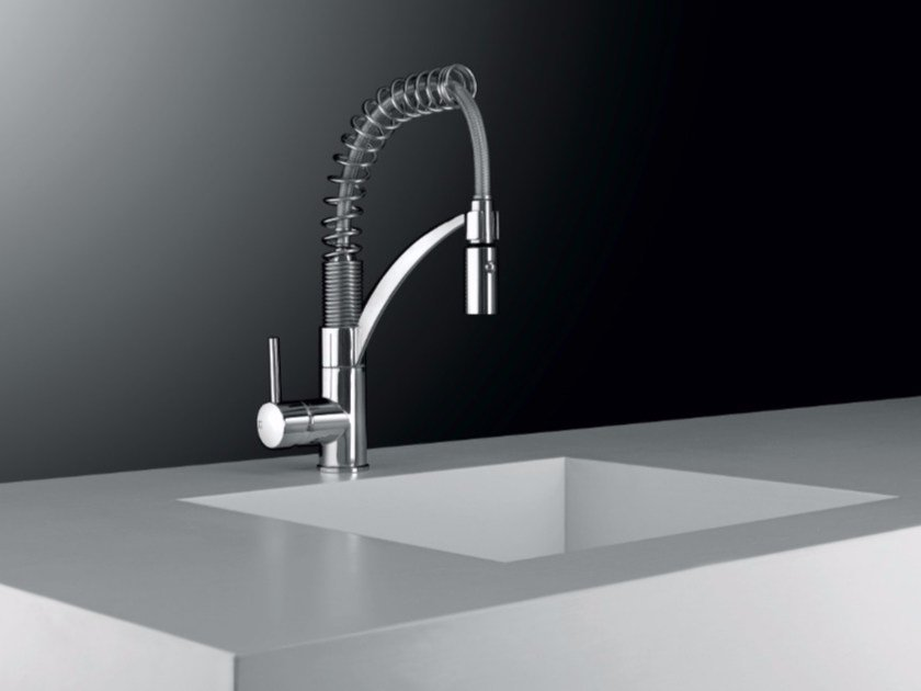 1 hole kitchen mixer tap with swivel spout with spray SPRING - Gattoni Rubinetteria