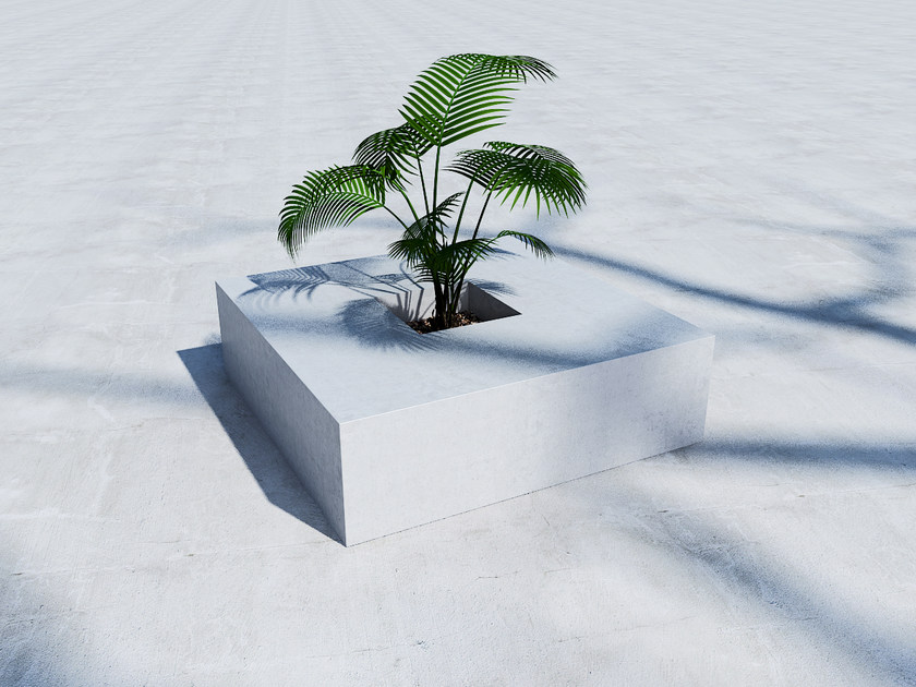 Low concrete Flower pot SQUARE (100) - SIT
