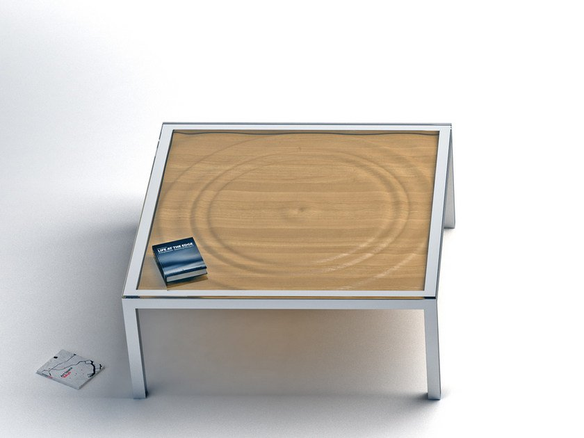 Low square steel and wood coffee table AQUA | Square coffee table - Altinox Minimal Design