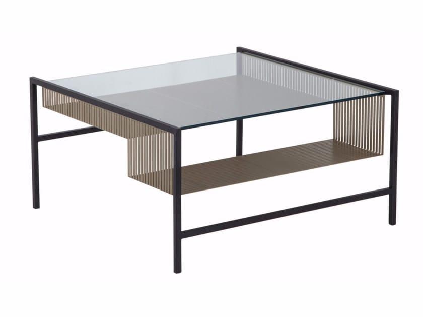 Tavolino quadrato in acciaio e vetro AGRAFE | Tavolino quadrato by ROCHE BOBOIS