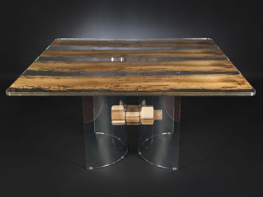 Square wood and glass table VENEZIA | Square table - VGnewtrend