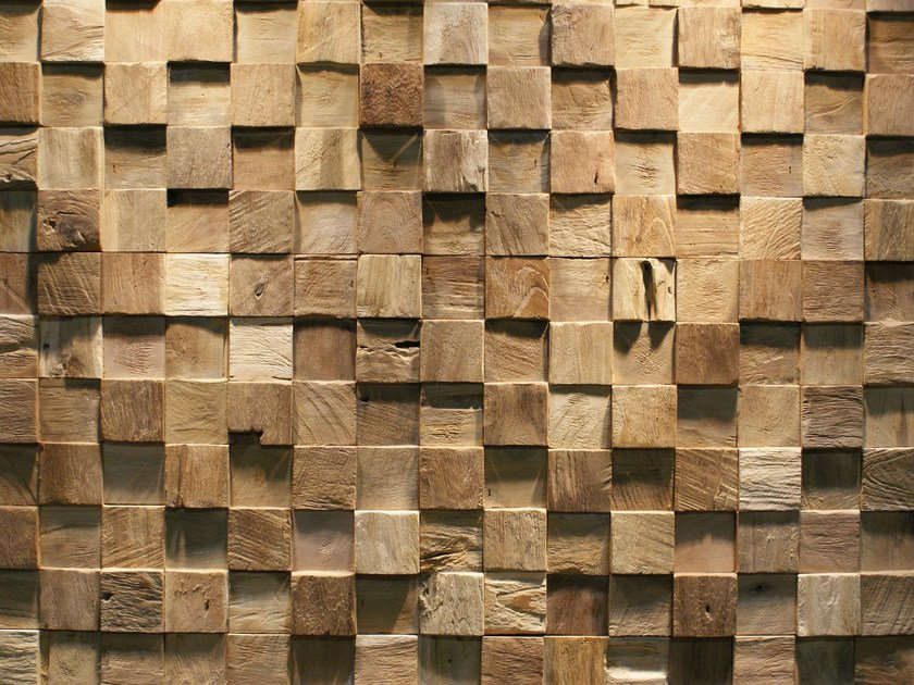 Reclaimed wood 3D Wall Tile SQUARE - Teakyourwall