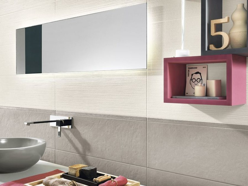 White-paste wall tiles with concrete effect SQUARE WALL Tortora - Impronta Ceramiche by Italgraniti Group