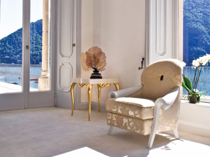 Upholstered fabric armchair with armrests ST132B | Armchair - Rozzoni Mobili d'Arte