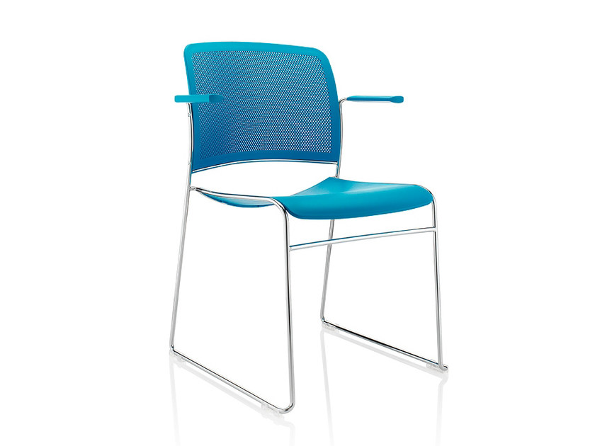 Sled base plastic chair with armrests STARR | Plastic chair - Boss Design