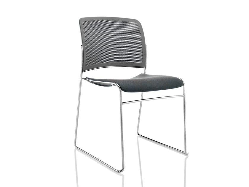 Sled base upholstered stackable chair STARR | Upholstered chair - Boss Design
