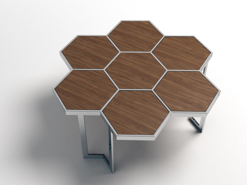 Low steel and wood coffee table HONEY | Steel and wood coffee table - Altinox Minimal Design