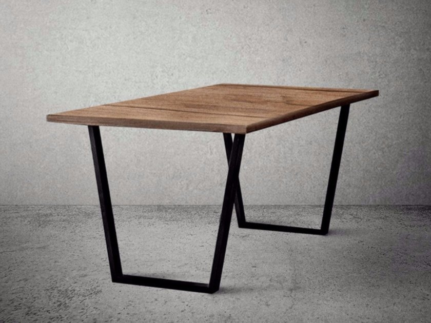 Rectangular steel and wood table STEEL FRAME | Steel and wood table - Baltic Promo