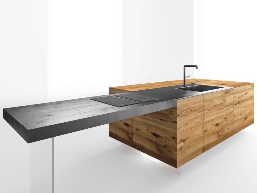 top cucina / tavolo a penisola in acciaio e legno steel+ - lago - Tavolo Penisola Cucina