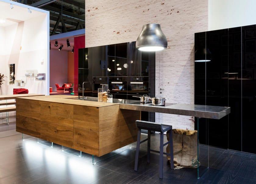 Top cucina / tavolo a penisola in acciaio e legno STEEL+ - Lago
