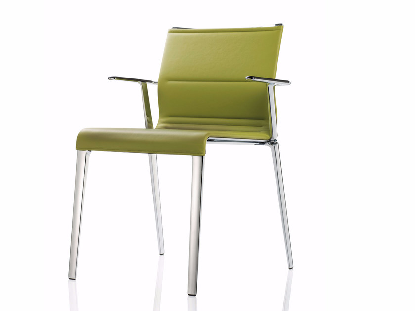 Leather chair with armrests STICK CHAIR ATK QUATTRO | Leather chair - ICF