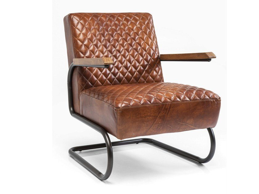 Cantilever leather armchair with armrests STITCH - KARE-DESIGN