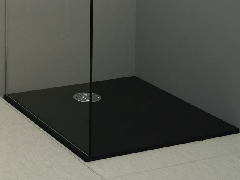 Built-in shower tray STONE BLACK by Alice Ceramica