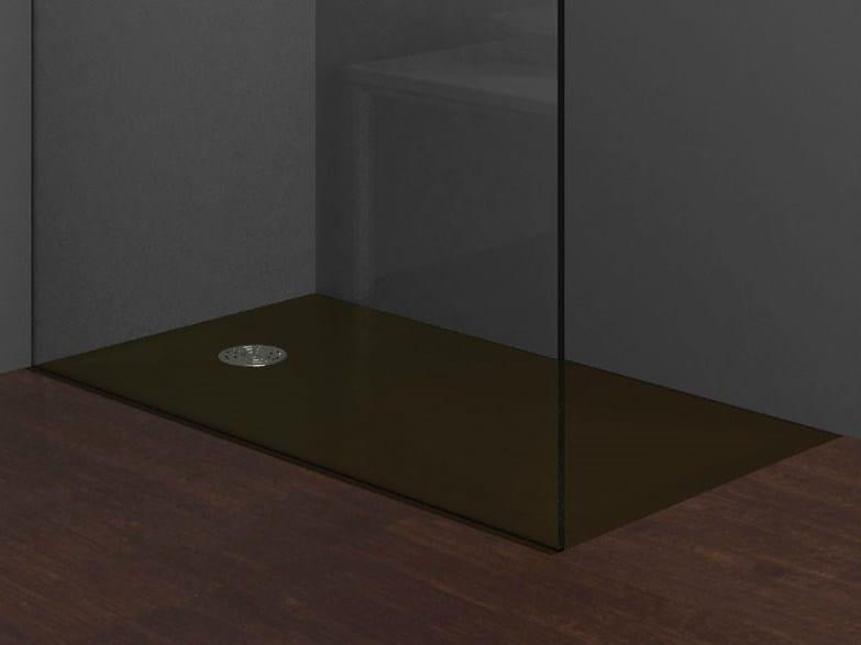 Piatto doccia filo pavimento rettangolare stone marrone - Piatto doccia incassato nel pavimento ...