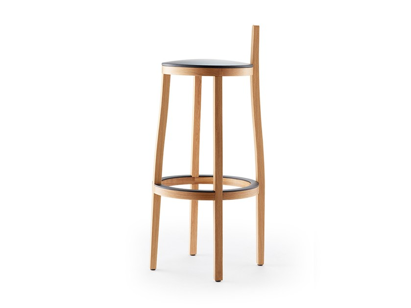High wooden stool with footrest LI-LITH | Stool by rosconi