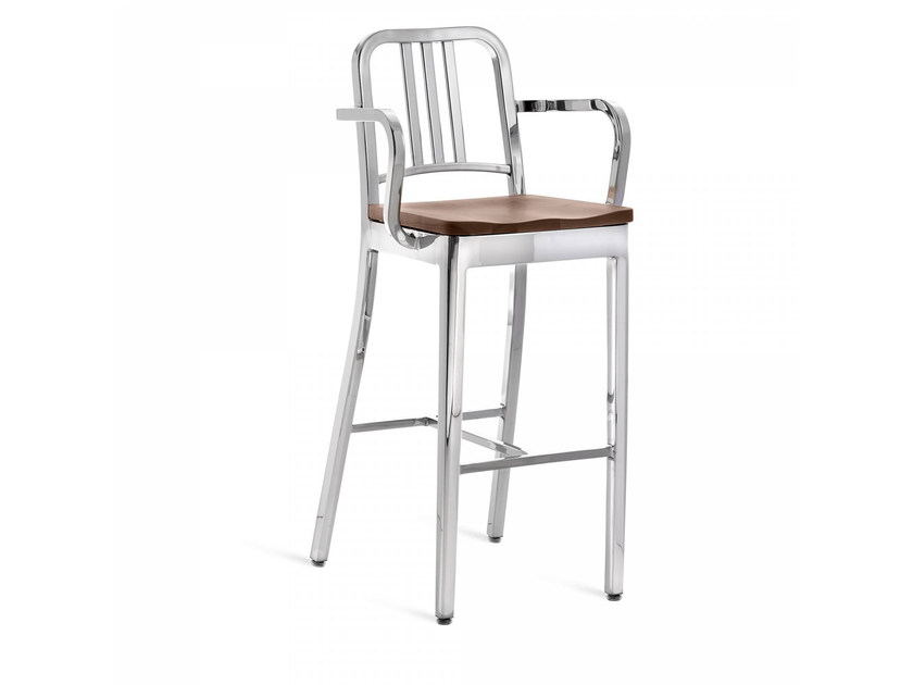 High aluminium and wood barstool with armrests 1104 NAVY | Stool with armrests - Emeco