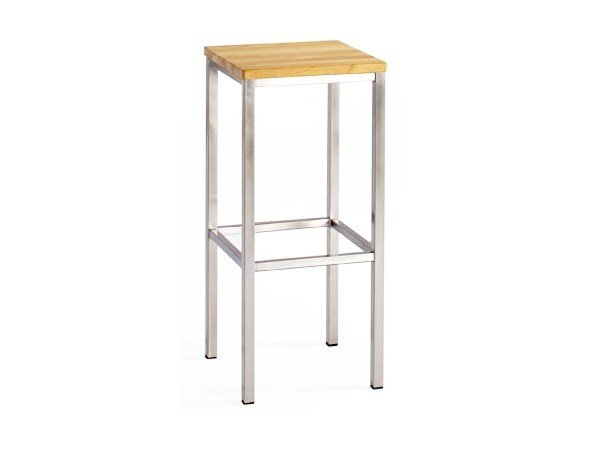 Steel and wood barstool with footrest CITYSCAPE | Stool with footrest - 7OCEANS DESIGNS