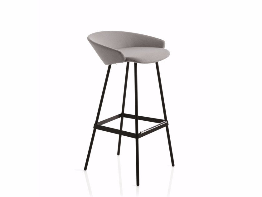High fabric stool with footrest KARL | Stool with footrest - Emmegi