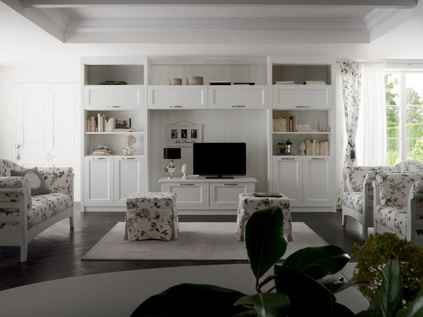 Sectional wooden TV wall system CLASSIC MELODY | Storage wall - Callesella Arredamenti S.r.l.