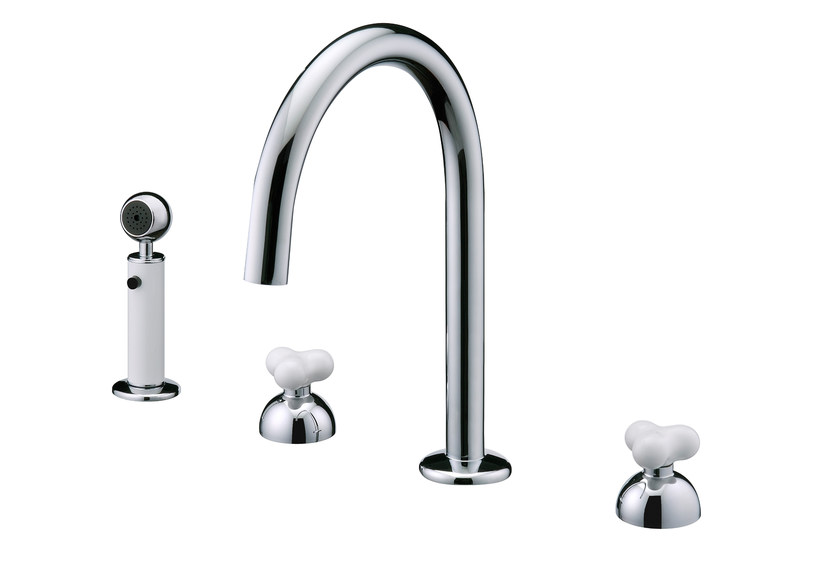 Countertop chromed brass kitchen tap with pull out spray STORY | Kitchen tap with pull out spray - JUSTIME