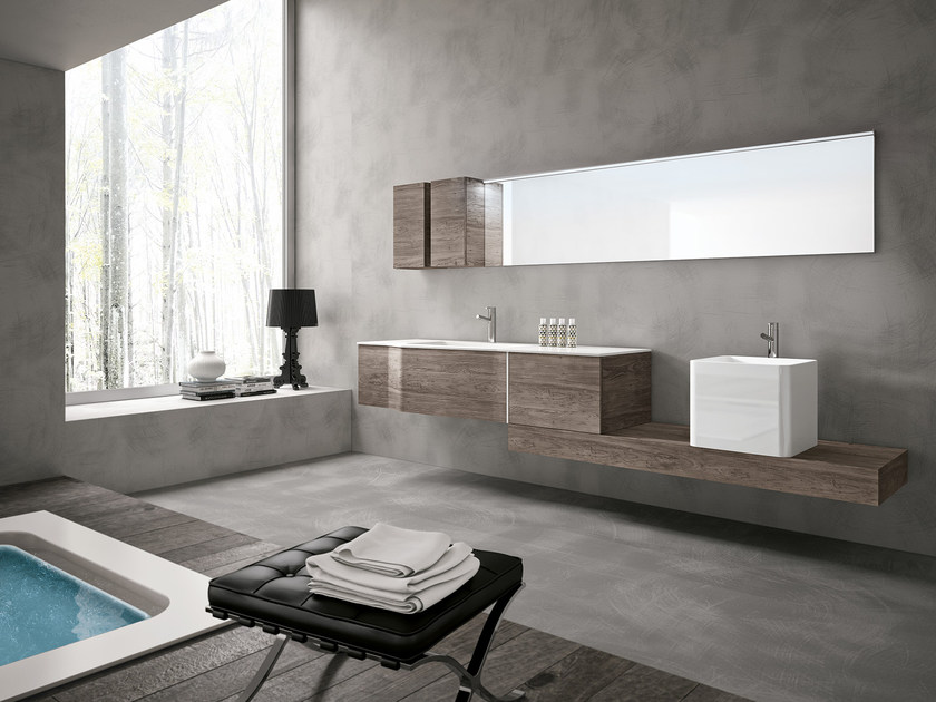 Wall-mounted vanity unit with mirror STR8 - 02 by Gruppo Geromin