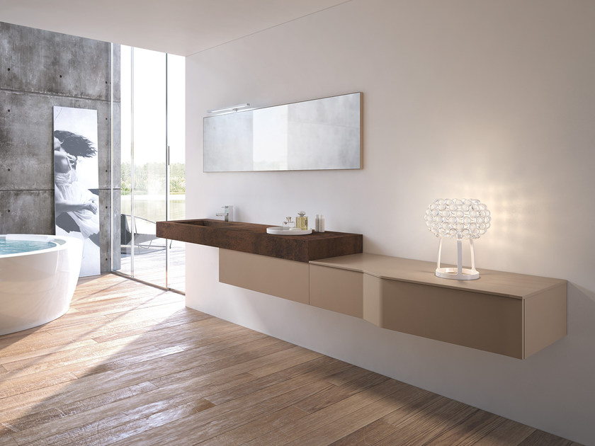 Single wall-mounted vanity unit with mirror STR8 - 06 by Gruppo Geromin