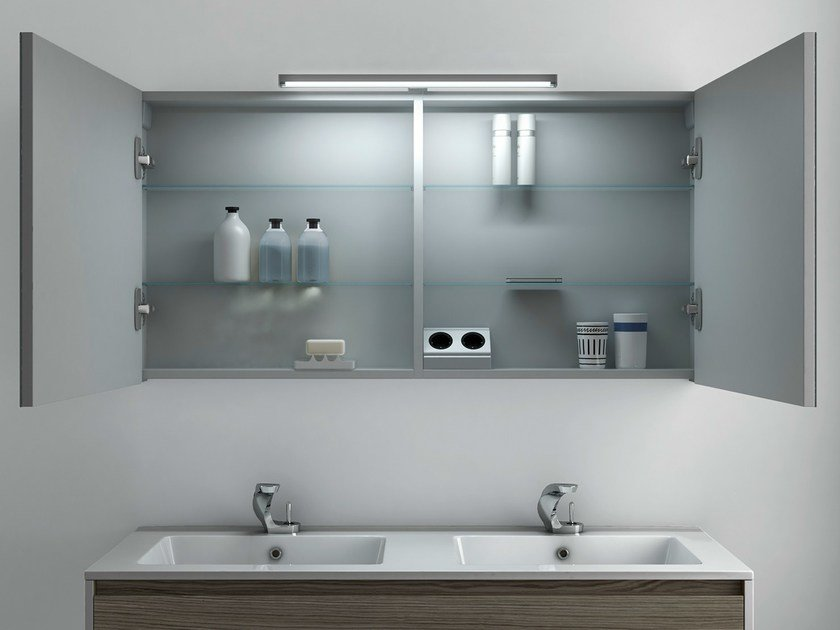 Bathroom mirror with cabinet STRATO | Bathroom mirror - INBANI