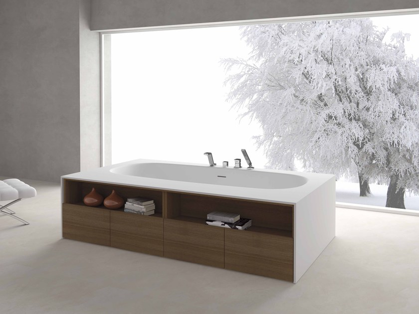Freestanding rectangular bathtub STRIP - Flora Style