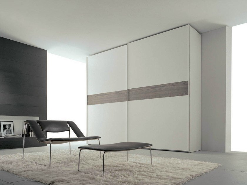 Lacquered wardrobe with sliding doors STRIP by Fimar