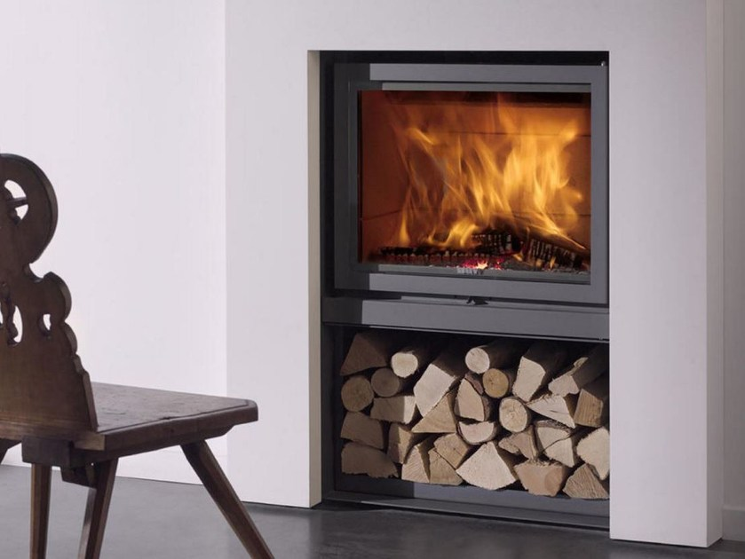 Wood-burning wall-mounted fireplace with panoramic glass STÛV 16 - Stûv