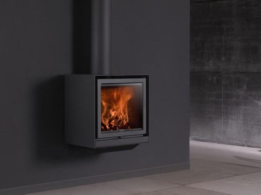 Wood-burning hanging fireplace with panoramic glass STÛV 16-UP - Stûv