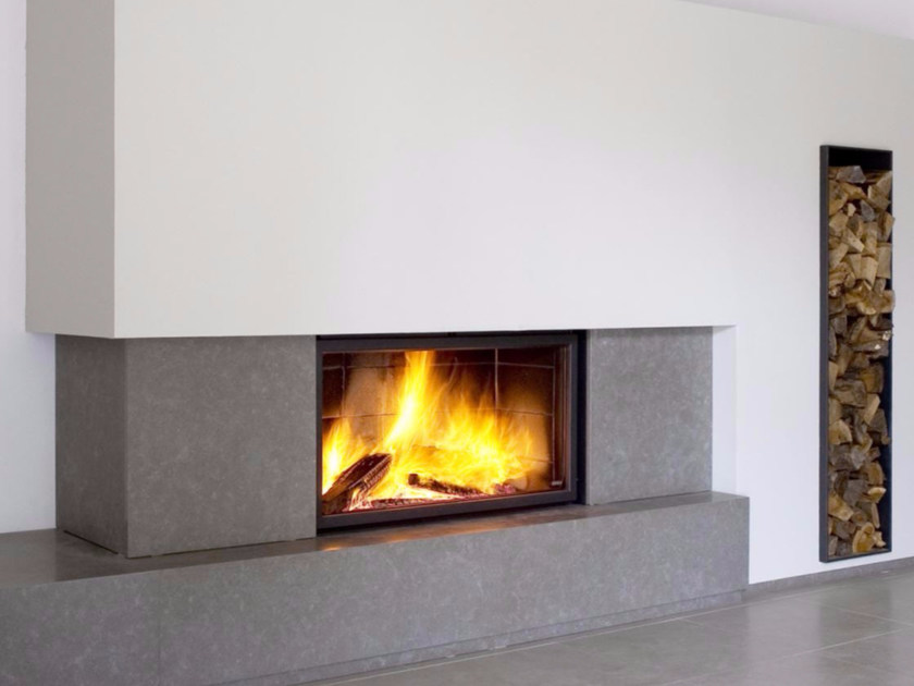 Wood-burning wall-mounted glass and steel fireplace STÛV 21/125 SF by Stûv
