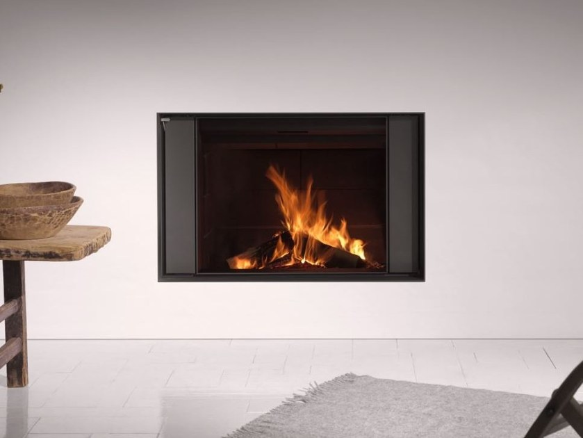 Contemporary style wood-burning wall-mounted built-in steel fireplace STÛV 22-90 S4 - Stûv