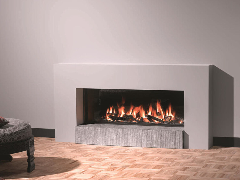 Gas steel fireplace with panoramic glass STÛV B-120 - Stûv