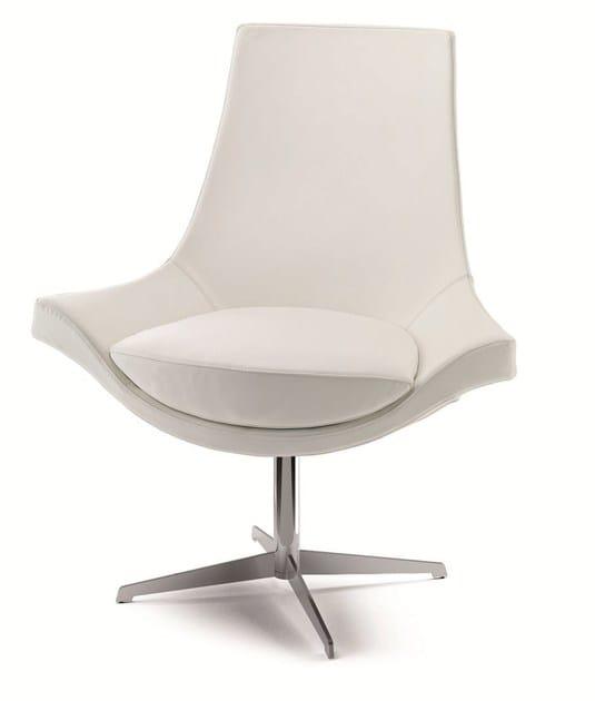 Swivel easy chair high-back SUMI | Leather easy chair - CIZETA