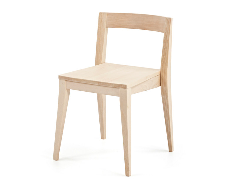 Stackable open back wooden chair T-BONE ST - Z-Editions