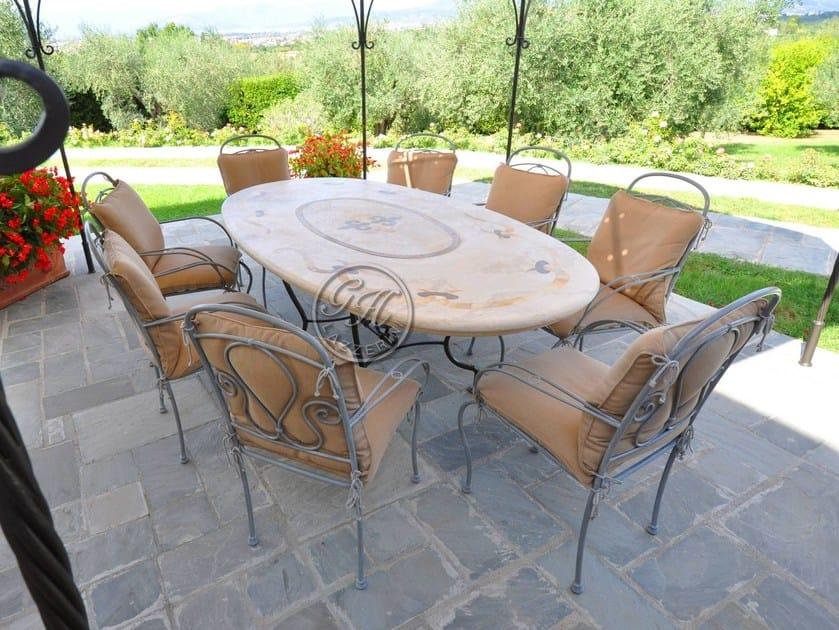 Tavolo da giardino ovale in pietra tavolo in pietra 7 gh lazzerini - Tavolo in pietra giardino ...