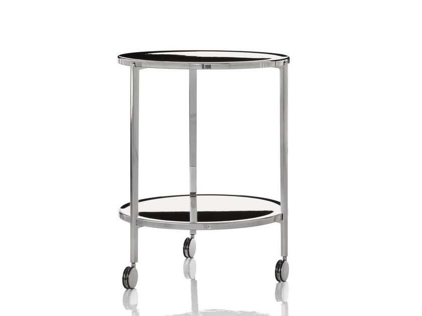 Low aluminium coffee table with casters TAMBOUR | Coffee table with casters - Magis