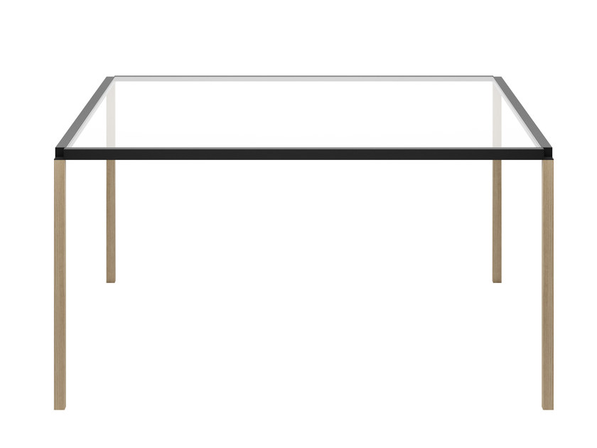 Square glass and aluminium table TAVOLO ZERO SQUARE - Z03 | Square table - Alias