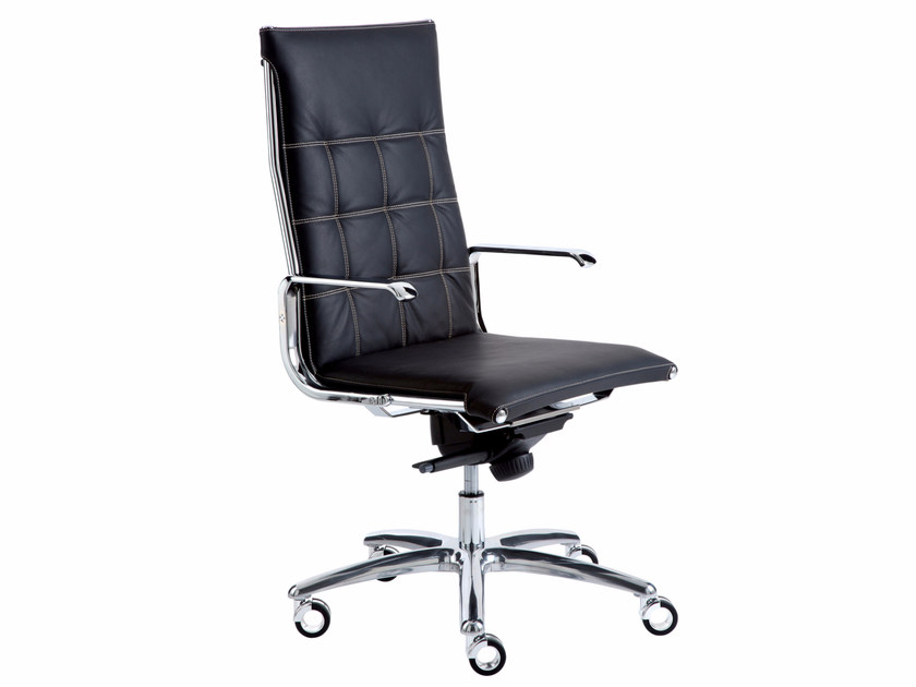 Height-adjustable executive chair with 5-spoke base with casters TAYLORD SQUARED | Executive chair with casters - Luxy