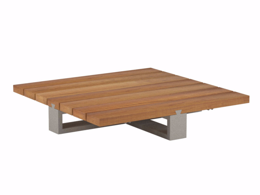 Low square aluminium garden side table VIGOOR LOUNGE | Teak coffee table - ROYAL BOTANIA
