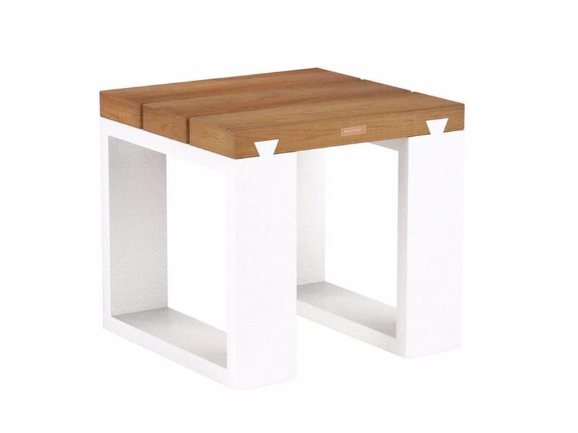Low sled base teak garden stool VIGOR | Teak stool - ROYAL BOTANIA