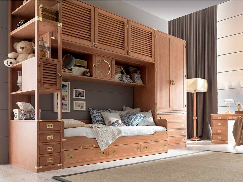 Fitted wooden bedroom set with bridge wardrobe with pull-out bed TEDDY | Bedroom set with bridge wardrobe - Caroti