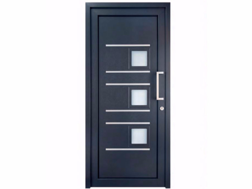Exterior custom glazed PVC entry door TEKNO TE201 by FOSSATI PVC