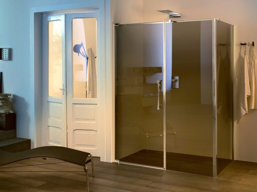 Glass shower cabin with pivot door and fixed element TEKNOAIR - 2 - INDA®
